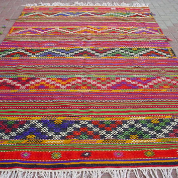"VINTAGE Turkish Area Rug Kilim Carpet Cicim (Embroidered), Area Rug,Decorative Rug,Turkish Rug, 71,6"" X 121,2"""