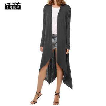 Guyueqiqin New Style Cardigan Casual Trench Coat Women Thin 11 Colors Irregular Femme X-Long Outerwear Solid Color Coats
