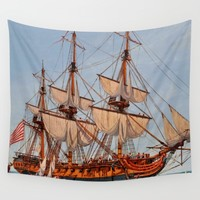 Revolutionary Painting of the Frigate Confederacy Wall Tapestry by BravuraMedia | Society6