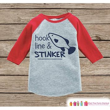 Humorous Boys Outfit - Red Raglan Shirt - Hook Line & Stinker Fishing Onepiece or Tshirt - Novelty Raglan Tee for Baby Boys, Toddler, Infant