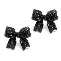 Fashion Crystal Pave Bow Ribbon Stud Earrings Black: Jewelry: Amazon.com