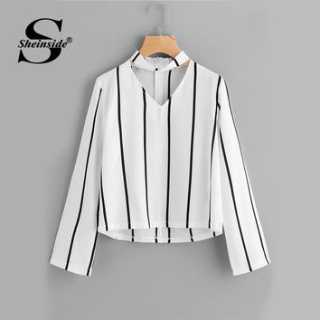 Sheinside Striped Blouse Women Shirts Blouses Crop Top Long Sleeve Cut Out V Neck With choker Summer Office Ladies Blouse