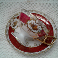 Vintage Crimson and Gold Footed Teacup, Saucer, Ornate Cabinet Cup Set, Elegant China Cup, Delicate Japan Teacup, Gold and Floral Designs