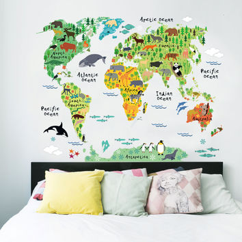 colorful animal world map wall stickers for kids rooms living room home decorations pvc decal mural art 037 diy office wall art