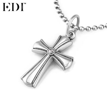 EDI 925 Sterling Silver Jewelry White Natural Topaz Gems Vintage Thai Silver Cross Link /Bead Chains Pendant Necklace for Women
