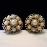 Kramer Faux Imitation Pearl Button Fashion Earrings Vintage Textured Shiny Gold Plate Designer