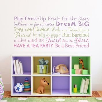 Girls Rules Wall Decal - Playroom Rules for Girls - Play Dress Up - Have a Tea Party - Multiple Color Version - Horizontal Medium