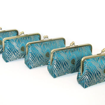 SALE 30% OFF - Peacock Clutches In Iridescent Silk Brocade-Set Of 5-Bridal Clutch-Bridesmaid Clutch-Wedding Purse