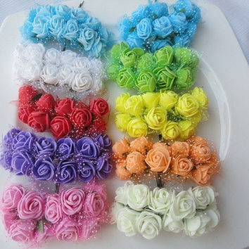 2015 2.5CM Silk Packaging Multicolor PE Rose Foam Mini Flower Bouquet Solid Color/wedding decoration(144pcs/lot) 5Z-HD009-2 [7981617607]