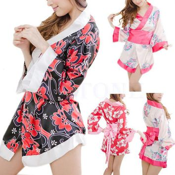 LMFET7 Sexy Floral Japanese Kimono Stage Sleepwear Lingerie Dress Bath Robe Nightgown