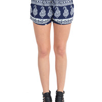 Resort Baroque Lounge Shorts - Medium/Large - Royal /
