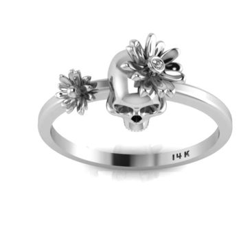 Day of the Dead Skull 14K White Gold Ring White Diamond