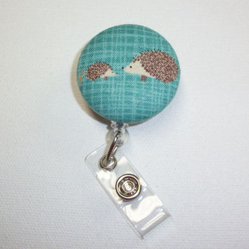 Retractable ID Badge Holder Reel  - Fabric Button -  Hedgehogs - teal - hedge hogs - coworker, teacher, nurse gift