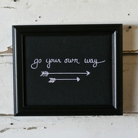 "Gallery ""Go Your Own Way"" Wood Framed Black Fabric Wall Decor Plaque Print"