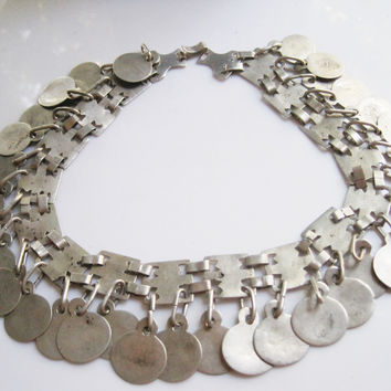 Antique Mapuche Silver Headband Converted into a Necklace, Indigenous Jewelry