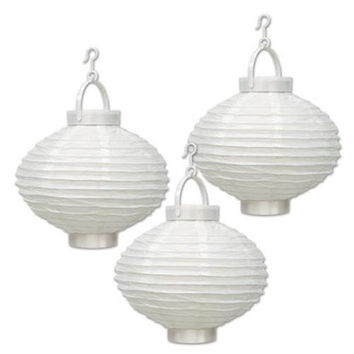 Light-Up Paper Lanterns - White