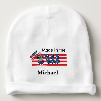 Made in the USA | American Flag Pig Baby Beanie