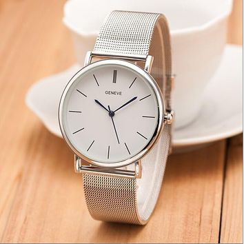 Silver Casual Geneva Quartz Watch Women Metal Mesh Stainless Steel Dress Watches Relogio Feminino Clock