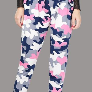 Pink Camouflage Print Drawstring Waist High Waisted Casual Camo Pants