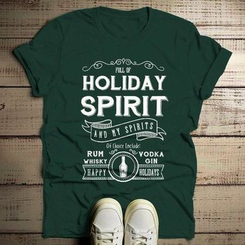 Men's Funny Holiday Spirit T Shirt Drinking Vodka Hilarious Christmas Shirt Gin Rum Vintage Tee