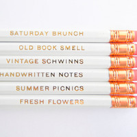 Favorite Things Pencils  White & Gold Set of by AmandaCatherineDes
