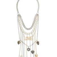 Faux Pearl And Love Layered Chain Necklace - Mixed Metal