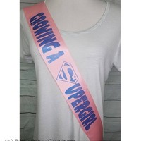 Growing a Superhero Sash, Super Girl Baby Shower Sash for mommy to be to wear at Baby Shower or Baby Sprinkle, Comes with a Rhinestone Pin