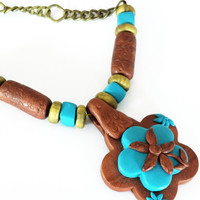Bohemian Style Necklace – Flowery Necklace – Handmade of Polymer Cay