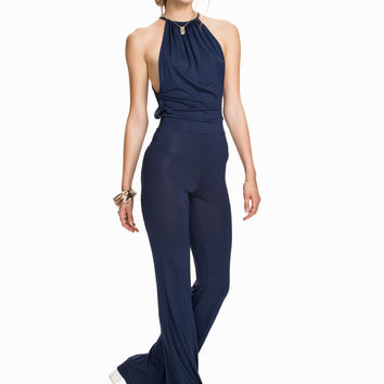 Dark Blue Halter Flared Leg Jumpsuit