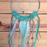 Large Boho Teal Burlap Flowers Dreamcatcher decor, silver, blue, grey, teal