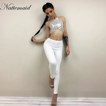 NATTEMAID Sequins Halter Sleeveless Crop Tops Length Trousers 2 Piece Sets Women Summer Backless Sexy Coat Two PCS Outfits
