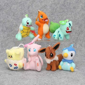 9-12cm Togepi Mew Piplup Bulbasaur Eevee Squirtle Charmander Plush Toy Stuffed Plush Doll pendant keychain with hook