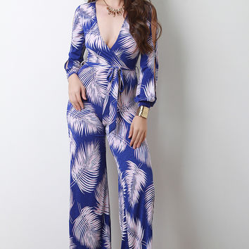 Palm Leaf Print Surplice Wide Leg Jumpsuit | UrbanOG
