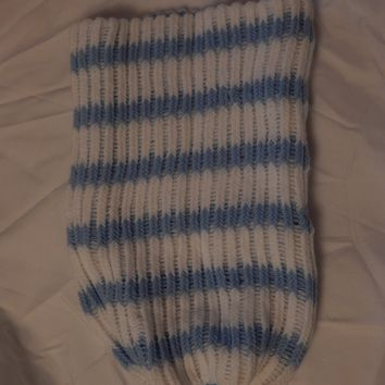 Blue And White Knitted Baby Cocoon
