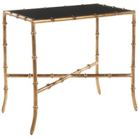 Chase Glass Accent Table, Gold/Black, Standard Side Tables