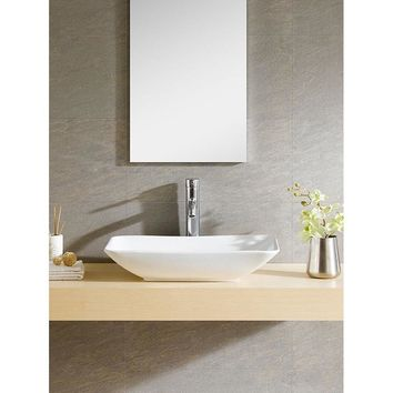 White Vitreous China Rectangle Vessel Sink