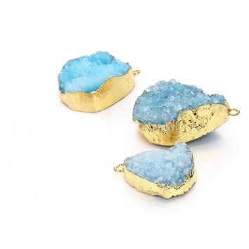 2pcs/lot Blue Women Natural Stone Quartz Crystal Necklace Pendants