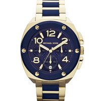 Michael Kors Mid-Size Golden/Navy Stainless Steel Tribeca Chronograph Watch - Michael Kors