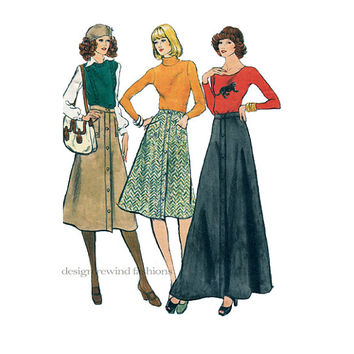 1960s MOD BOHO A-Line SKIRTS 3 Lengths Maxi Evening Mid Knee Mid Calf Length Vogue 9022 UnCUT Womens Vintage Sewing Patterns Waist 28 Hip 38