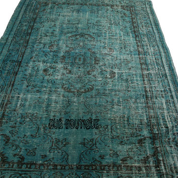 Handmade Overdyed Turkish Carpet Turquoise  - Vintage Turkish Rug- (207 X 282 cm)(6,7 ft X 9,2 ft)