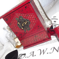 D.A.W.N AFFIRMATION Scarlet & Gold Armoire with a FREE Affirmation keep-safe box by The Little Box Boutique