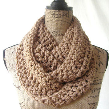 Ready To Ship Toasted Almond Brown Cowl Scarf Fall Winter Women's Accessory Infinity 159