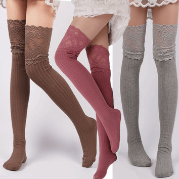 1 Pair Women's Fashion Crochet Knitted Lace Trim Boot Cuffs Toppers Knee-Sockings Thigh High Knee Socks Long Cotton Stockings