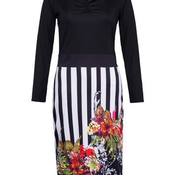 Black Color Block Floral And Stripe Panel Bodycon Dress