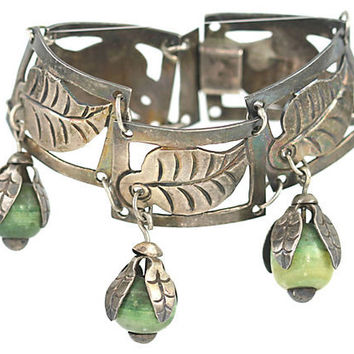 Taxco Silver Dangle Panel Bracelet