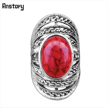 Victoria Hollow Flower Oval Stone Rings For Women Vintage Antique Silver Plated Fashion Jewelry