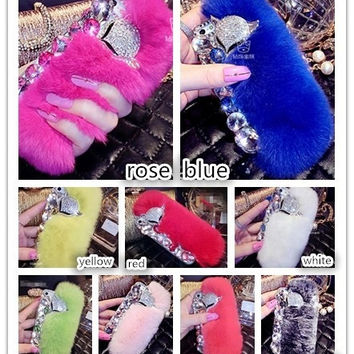 Phone case Rhinestone Rex Rabbit Fur mobile phone shell for iphone6 plus/ iphone6 /iphone5S/iphone5/iphone4s/Samsung Galaxy S5 S4 mobile phone cover = 1932787012