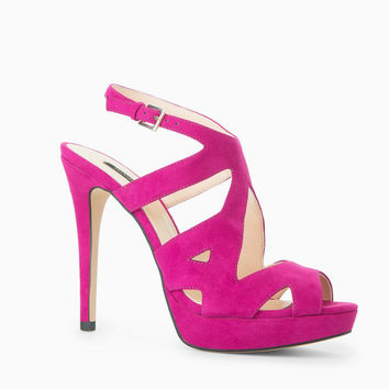 Cherry Pink Leather Strappy Heels Shoes