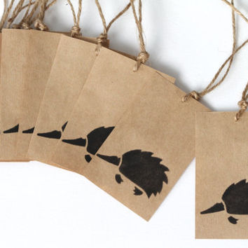 Kraft Gift Tags, Set of 10, Cute Echidna, Upcycled Paper, Rustic Favour Tag