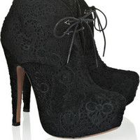 Alaïa Cutout calf hair and suede ankle boots – 55% at THE OUTNET.COM